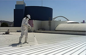 Roof spray coating