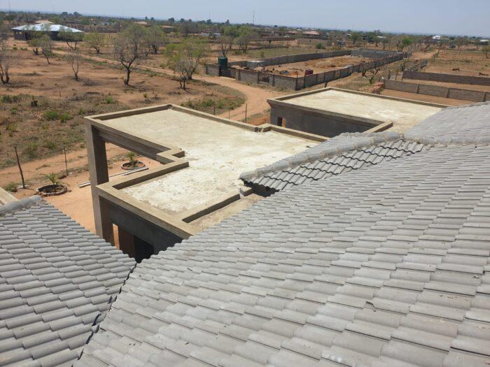 New concrete roof slab before waterproofing