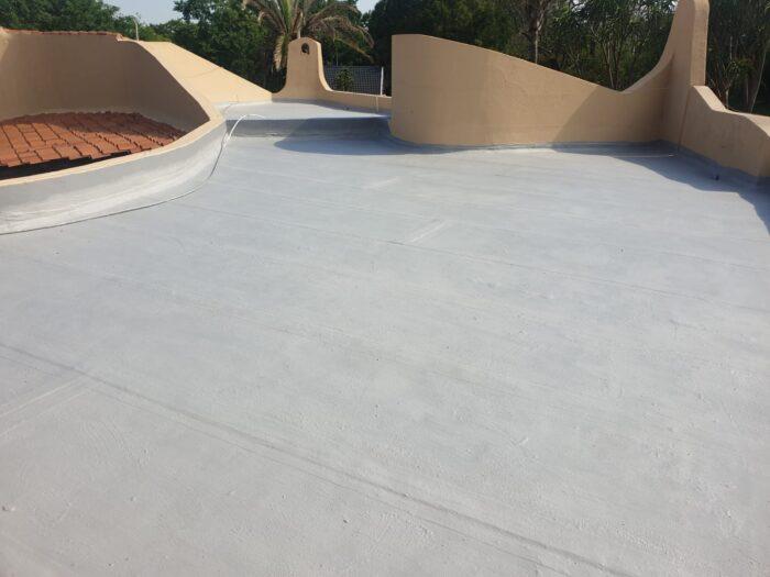 Residential concrete roof slab waterproofing